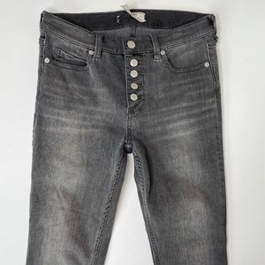 Free People Reagan Button Front Skinny Jeans Sz 28